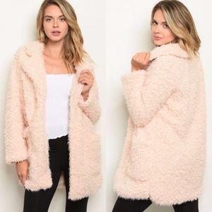 Soft Teddy Bear Shaggy Faux Fur Furry Coat Jacket